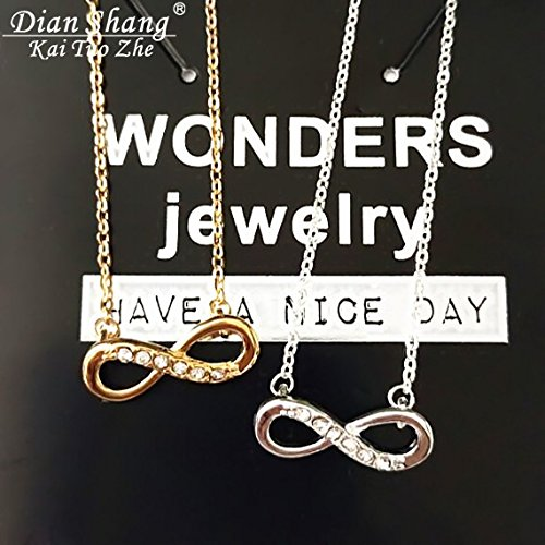 1 sets of 2 Fashion Bijoux Femme Gold Silver Body Chain Infinite Necklace Pendant For Girl Best Friend Gift