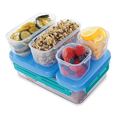 Rubbermaid LunchBlox Leak-Proof Entree Lunch Container Kit, Large, Blue 2000665 (Rubbermaid Bento Storage Boxes)