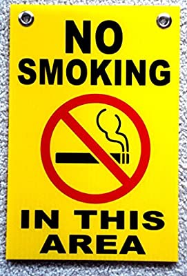 "1 Pc Glistening Unique No Smoking in This Area Sign Coroplast Outdoor Decal Yard Board Free Permitted Decals Window Not Allowed Stickers Doors Plastic Sticker Non Smoke Signs Size 8""x12"" w/ Grommets"