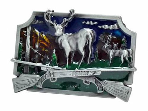 Silver Painted Enamal Buck Hunter Deer Hunting Belt Buckle