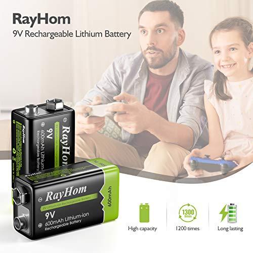 RayHom 9 Volt Rechargeable Batteries Lithium ion 9V 600mAh Li-ion Batteries (4-Packs)