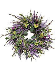 RESOYE 24Inch Artificial Lavender Wreath,Front Door Wreath Floral Flower Wreath with Greenery Eucalyptus Leaves, Spring Summer Wreath for Outdoor Wall Home Holiday Decor
