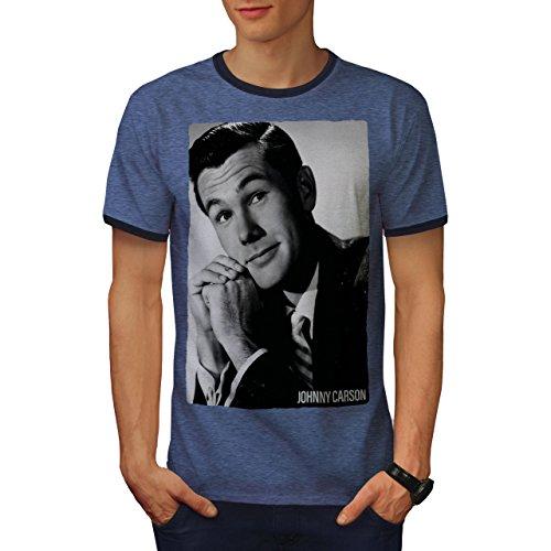 wellcoda Johnny Carson USA Mens Ringer T-Shirt, Famous Graphic Print Tee Heather Blue/Navy 2XL