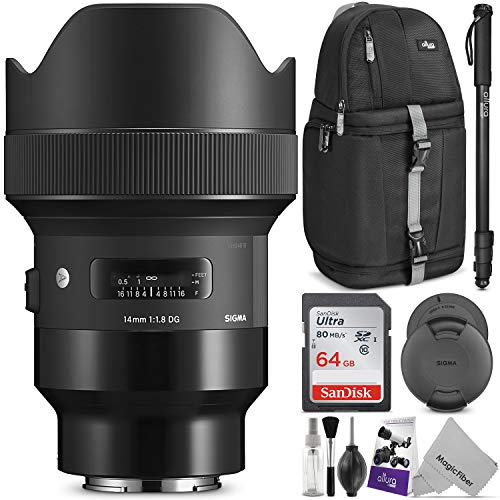Sigma 14mm f/1.8 DG HSM Art Lens for Sony E Mount Cameras w/Advanced Photo and Travel Bundle
