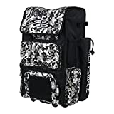 Boombah Rolling Superpack Baseball / Softball Gear Bag - 23-1/2' x 13-1/2' x 9-1/2' - Camo Black/Gray - Telescopic Handle and Holds 4 Bats - Wheeled Version