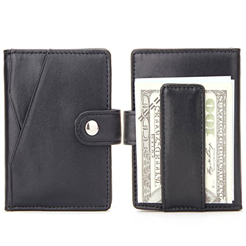 Purfit Design--Buffalo ID Bifold Money Clip Wallet Genuine Leather Slim Wallet with RFID Blocking & Security Closure For Cash & Cards (Black)
