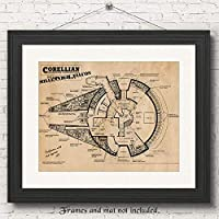 Original Star Wars Millenium Falcon Patent Art Poster Print - Set of 1 (One11x14) Unframed - Great Wall Art Decor Gifts Under $20 for Home, Office, Studio, Garage, Man Cave, Teacher, Coach, Movies Fan
