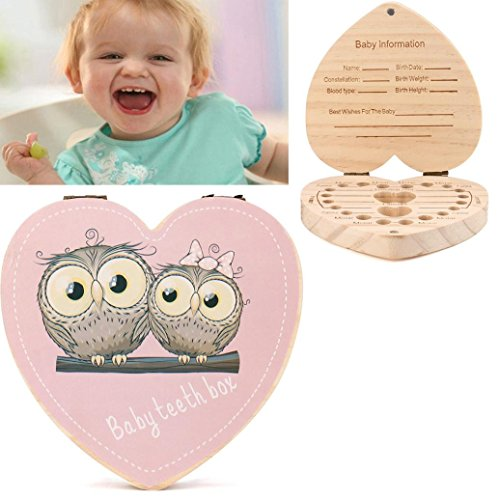 Gbell Baby Tooth Box,Kids Milk Teeth Save Personality Pine Souvenir Box for Kids Boy&Girl (A)