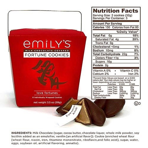 Emilys Milk Chocolate Covered Fortune Cookies, Love Fortunes 3.5 Oz (Chocolate Fortune Cookies)