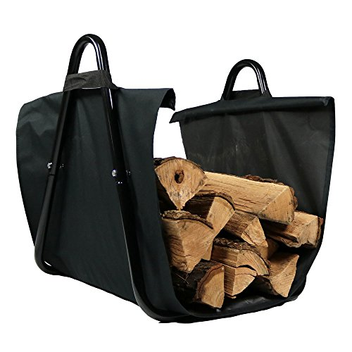 Sunnydaze Canvas Firewood Log Carrier with Handles, Heavy-Duty Log Tote and Rack Included