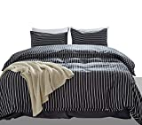 nice rustic duver cover  3 Pieces 100% Cotton Duvet Cover King Set Dark Gray and White Striped Bedding Duvet Cover Set Zipper Closure Modern Simple Reversible Design (Grey, King 104x90)