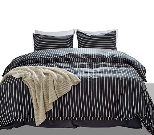 3 Pieces 100% Cotton Duvet Cover King Set Dark Gray and White Striped Bedding Duvet Cover Set Zipper Closure Modern Simple Reversible Design (Grey, King 104x90)