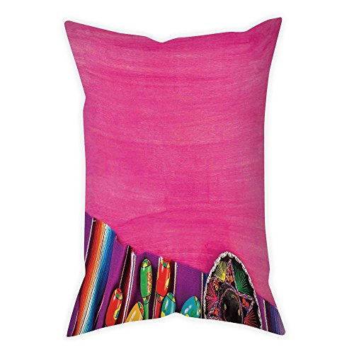 iPrint Microfiber Throw Pillow Cushion Cover,Mexican Decorations,View of Folkloric Serape Blanket Charro Hat and Music Instruments,Fuchsia Purple,Decorative Square Accent Pillow Case by iPrint