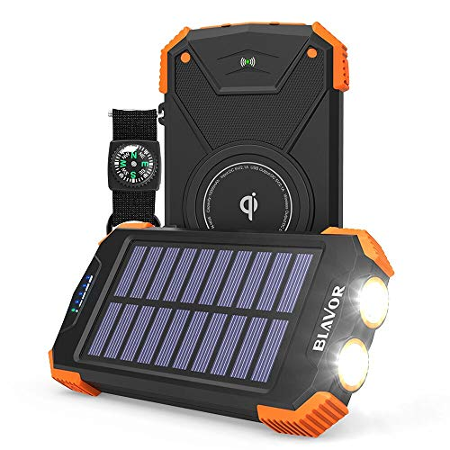 Solar Power Bank, Qi Portable Charger 10,000mAh External Battery Pack Type C Input Port Dual Flashlight, Compass (IPX4 Splashproof, Dustproof, Shockproof, Solar Panel Charging, DC5V/2.1A Input) (Best Solar Panel Phone Charger)
