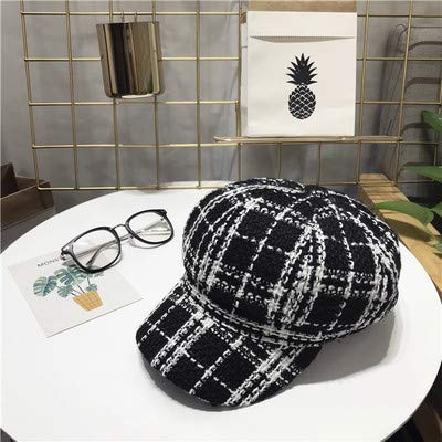 JINGB Home Octagonal Cap Female Autumn and Winter Wild Tweed Small Incense Beret British Retro Black and White Plaid Duck Tongue Painter hat (Color : Black, Size : M(56-58cm))