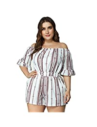Mini Balabala Off The Shoulder Dresses for Women Plus Size Summer Dress Strapless Jumpsuit