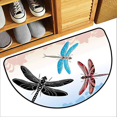 YOFUHOME Dragonfly Antibacterial Doormat Exotic Dragonflies Flying in Cloud Sky Animal Wing Nature Illustration Easy to Clean W35 x L23 Black Blue Light Pink
