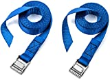 Two Pack of Premium Lashing Straps by Vault - 8 Ft Long – Rated 250 Lbs - Perfect Tie Down Strap for Kayaks Carriers - Moving Canoes - and Roof Racks - Great Accessory to Go With Ratchet Tie-Downs
