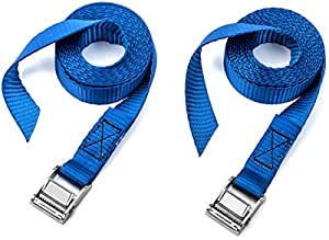 Two Pack of Premium Lashing Straps by Vault - 8 Ft Long - Rated 250 Lbs - Perfect Tie Down Strap for Kayaks Carriers, Moving Canoes, and Roof Racks - Great Accessory to Go With Ratchet Tie-Downs