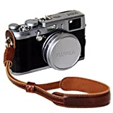 Clanmou A6300 RX100IV Camera Leather Hand Strap for Fujifilm X30 X100S Canon G5X G9X G7X Mark II Nikon J5 A900 Camcorder Camera Strap Dark Brown