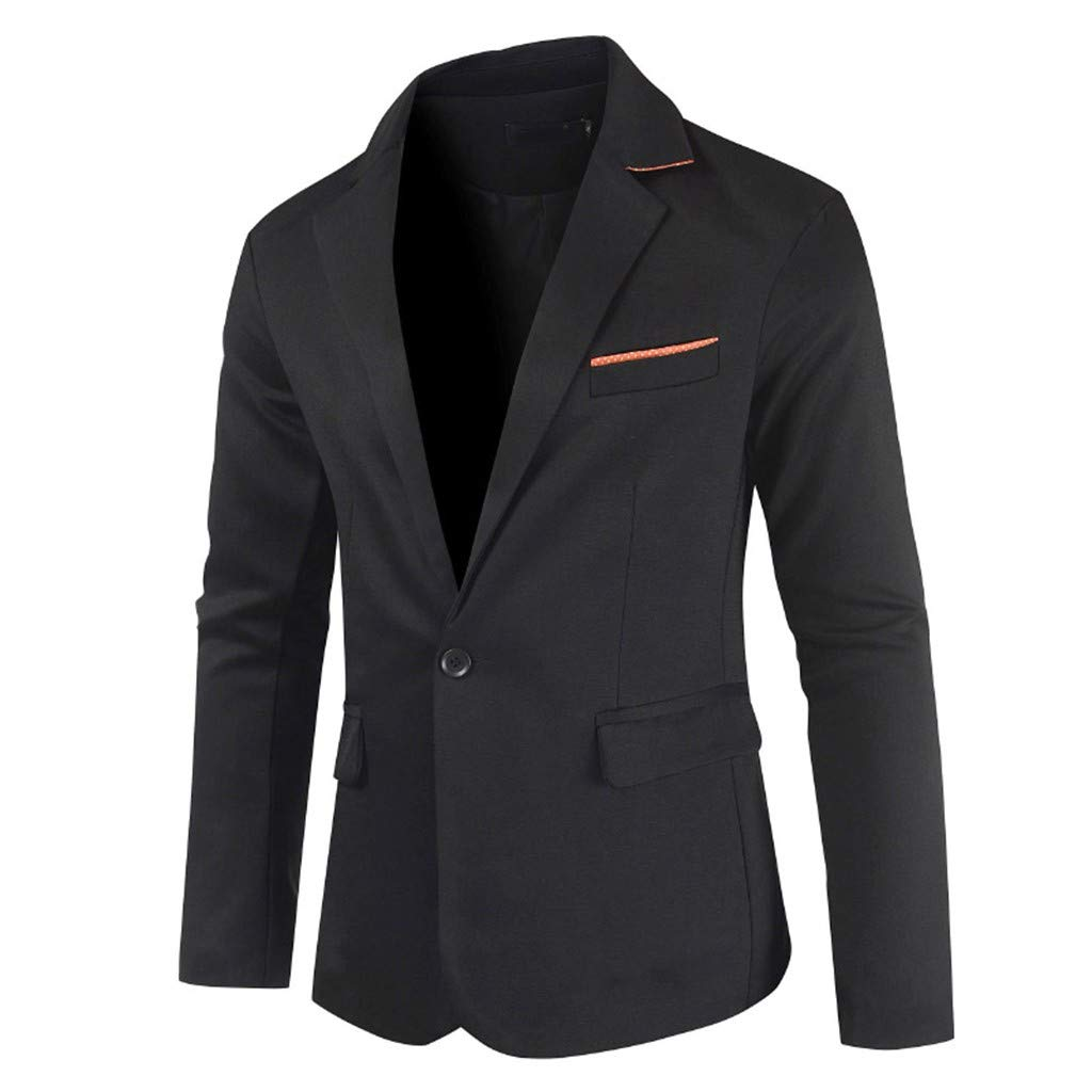 Men's Long Sleeve Business Suit, Males Slim Fit One Button Pockets Solid Body-Building Coat Tops Outwear by cobcob men's Coat