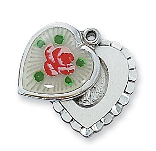 (Silver Sliding Heart Shaped Miraculous Medal, 11/16 L, with Cloisonne Flower and 18