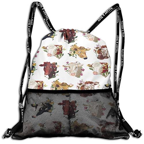 HESLOM MOO Cow Pattern Drawstring Backpack Bag, Lightweight Sport Athletic Shoulder Bag with Front Zipper Mesh Pocket