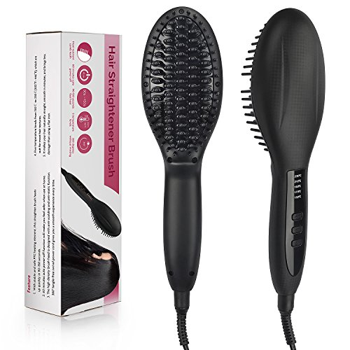 Folksmate Hair Straightener Brush, 60W Professional Heated Ceramic Straightener Comb with Faster Heating Technology and Auto Temperature Lock, Black