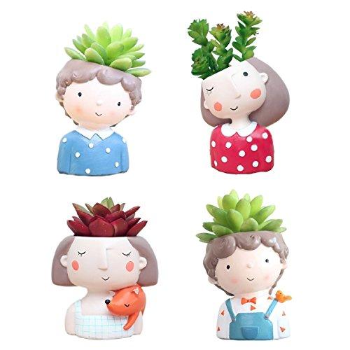 Youfui Home Decor Planter, 4pcs Succulent Cactus Flowerpot Set Couple Gift for Friends