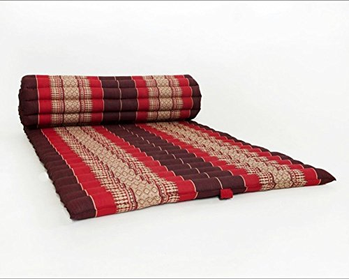 Thailand: Large Roll Up Thai Mattress, Size 69x30x2 inches, Red, black, Elephant Thai Pattern. #010 by Conserve Brand (Image #1)