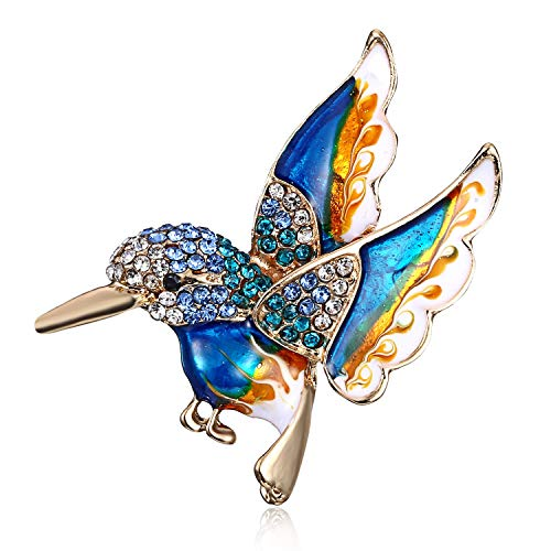 - AILUOR Antique Gold Tone Enamel Bird Hummingbird Multi Color Austrian Crystal Pin Brooch Jewelry for Women (Blue)