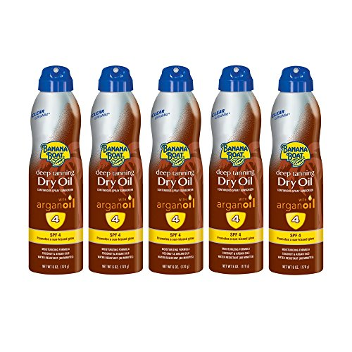 Continuous Oil Clear Spray - PACK OF 5 - Banana Boat Clear UltraMist Deep Tanning Dry Oil Continuous Spray Sunscreen, SPF 4, 6 oz
