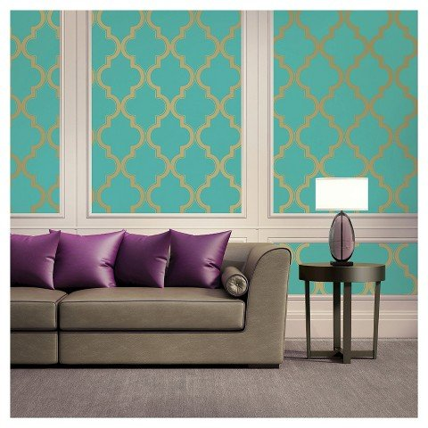 Turquoise Stitch (Peel and Stick Repostitionable Wall and Surface Covering: Cable Stitch Pond)