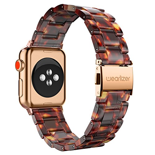 Wearlizer Compatible Apple Watch Band 38mm Womens Mens iWatch Resin Lightweight Wristbands Replacement Sport Bracelet Strap, Stainless Steel Buckle Series 3 2 1-Dark Rose Gold+Tortoise
