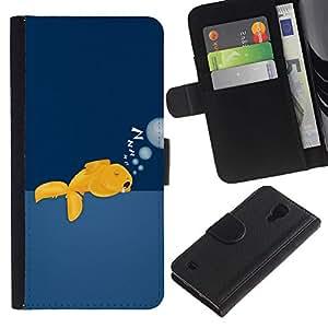 eJoy---La carpeta del tirón la caja de cuero de alta calidad de la PU Caso protector - Samsung Galaxy S4 IV I9500 - --Funny Sleeping Goldfish