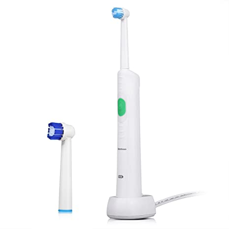 Excelvan - Cepillo de Dientes Eléctrico Impermeable Recargable Suave Elástico Boquillas Cuidado Dental con 2 Cabeza