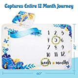 """Newborn Baby Monthly Milestone Blanket – Includes Flower Ring for Marking Months – Photo Prop for Preserving Precious Memories – Track & Document Baby Growth - Blue 40"""" X 60"""" Baby Milestone Blanket"""