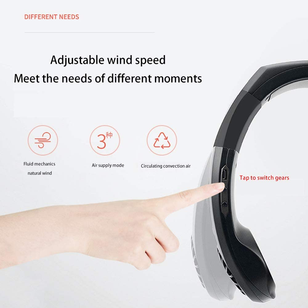 NAQIFU Hand Free Personal Cooling Fan Portable Neckband Mini Neck Air Cooler USB Battery Rechargeable Headphone Design Wearable 3 Speeds Adjustment Head 45/° Rotate for Office Travel Outdoor Sports