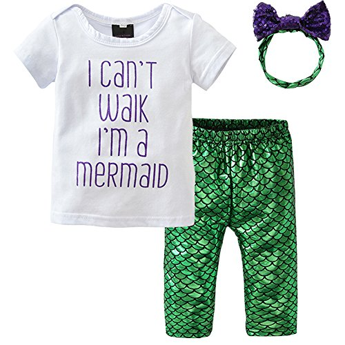 Infant Baby Girls Mermaid Outfits Shirt Top Shiny Fish Scale Pant Headband 3Pcs Clothes Set ()