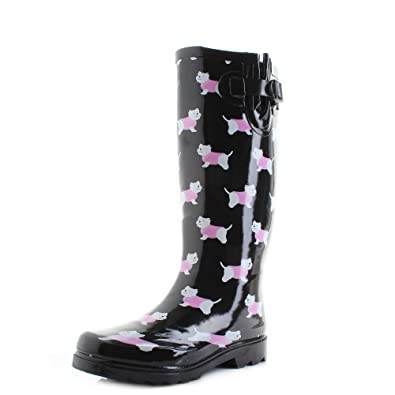 0bac681ea3a Shoestore Womens Wyre Yorkie Dog Black Print Wellies Wellington ...