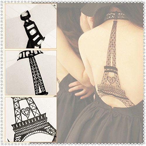 Nu Elegante Noire V Dos a Dcollet Tour Cocktail Robe Robe Robe Eiffel Soire en Femme wfHq1vI