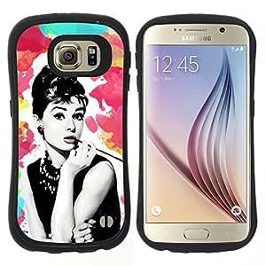 """Hypernova Slim Fit Dual Barniz Protector Caso Case Funda Para Samsung Galaxy S6 [Estrella retra Vintage Películas de 60 Películas""""]"""
