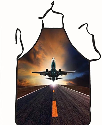 chanrancase tailored apron passenger jet plane flying over airport runwa Children, unisex kitchen apron, adjustable neck for barbecue 26.6x27.6+10.2(neck) INCH