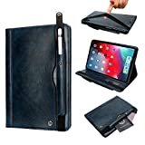 iPad 10.5 Inch Case for Men, YiMiky Luxury Book Style Folding Case with Pencil Pocket Card Slots Folio Smart Case Smart Stand Shell for iPad Air 3 2019/ iPad Pro 10.5 Inch 2017 - Dark Blue