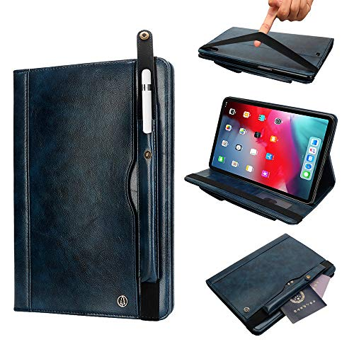 TechCode iPad Pro 12.9 Case 2018, Slim Lightweight Folding Stand Case with Pencil Sleeve Multiple Viewing Angles Smart Cover Premium PU Leather Case for iPad Pro 12.9 3rd Generation, Dark Blue