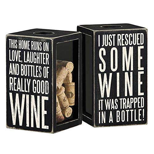 Primitives by Kathy Classic Black and White Cork Holder, 4.25 x 7.25 x 4.25-Inches, Bottle of Really Good Wine (Cork Wooden Wine Holder)