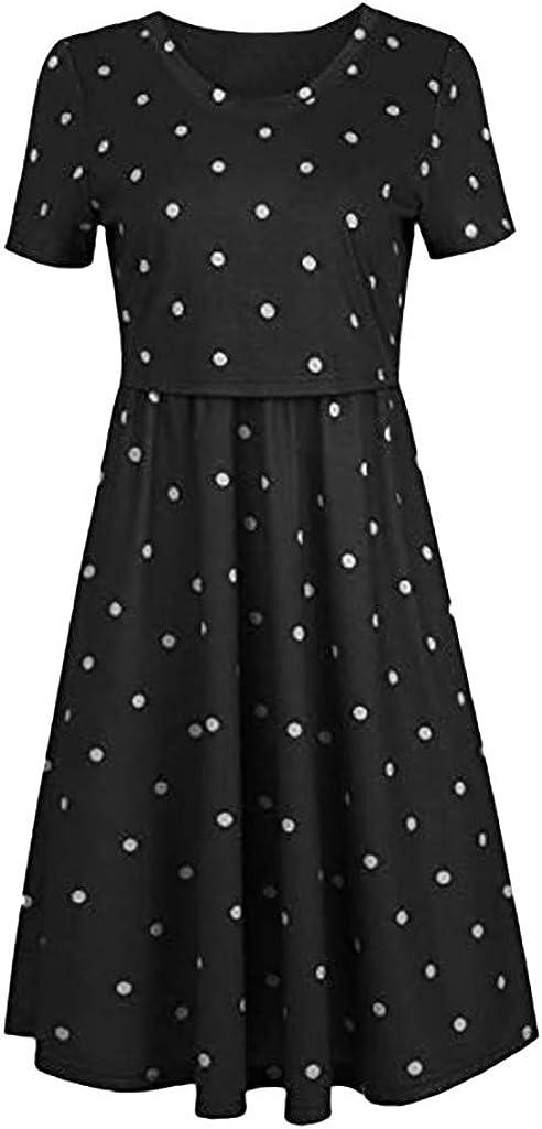 Pregnancy Dresses Double Layer Dress Classic Retro Polka Dot Dress Casual Summer Maternity Nursing A-Line Pleated Dress for Breastfeeding Flowy Sundress High Waisted Motherhood Clothes