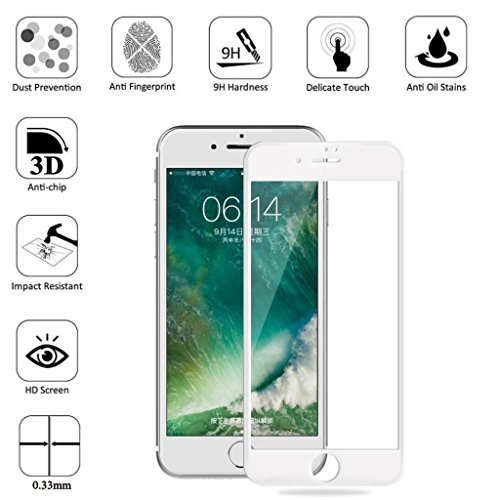 Iphone 7 plus Tempered Glass HD Screen Protector,Aikenuo 4D Full Coverage,Anti-Scratch,Case Fit,Bubble Free,9H Hardness 3D touch Round Edge Explosion proof Protection Film For Apple 7plus