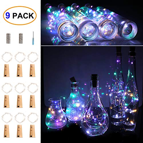 ITART 9 Pack Wine Bottle String Lights Cork LED Battery Powered Lights 15 Leds 2.5ft Multicolor Micro Small Silver Wire Shaped Fairy Light Crafts Table Centerpieces Wedding Parties Christmas Decor
