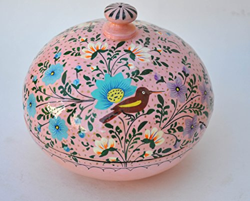 Crossing Seven Seas - Hand Painted Paper Mache Round Powder Box/Keepsake Box/Gift for Her, Jewelry Box, Candy -